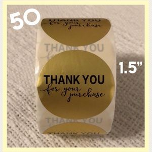 """50 Round Thank You Gold foil stickers - 1.5"""""""